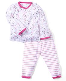 Babyhug Full Sleeves Top And Stripe Pajama Floral Print - White Pink