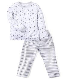 Babyhug Full Sleeves Top And Stripe Pajama Floral Print - White Light Grey