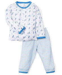 Babyhug Full Sleeves T-Shirt And Stripe Pajama Boat Print - White Light Blue