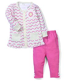Wonderchild Zigzag Strip Print Top & Pajama Set - Pink & White