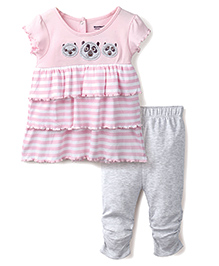Wonderchild Top & Pant Set Stripe Pattern - Grey And Pink