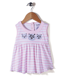 Wonderchild Baby Frock Panda Face Patch - White And Pink