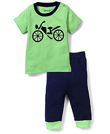 Wonderchild T-Shirt And Pant Bike Print - Green And Navy