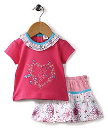 Wonderchild 2 Piece Skirt Top Set For Girls - Dark Pink & White