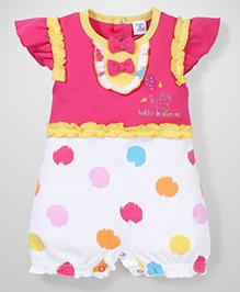 Wonderchild Short Sleeves Romper Hello Balloon Print - Pink and White