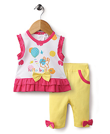 Wonderchild Top And Capri Bow Applique - White And Yellow