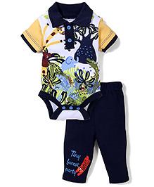 Wonderchild Animal Print Onesie & Pant - Navy Blue