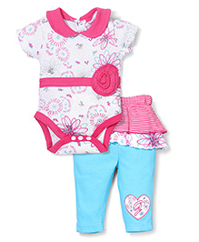 Wonderchild Flower Print Onesie & Pant - Pink & Blue