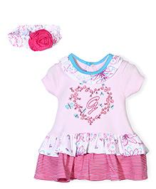 Wonderchild Flower Print Onesie Dress With Headband - Pink