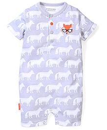 Wonderchild Fox Print Romper - Grey