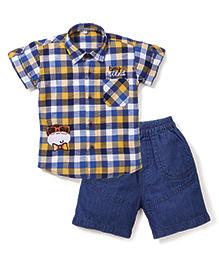 Jash Kids Half Sleeves Check Shirt And Denim Shorts Monkey Embroidery - Yellow Dark Blue