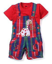 Jash Kids Check Dungaree Style Romper With Short Sleeves T-Shirt Dinosaur Embroidery - Blue Red