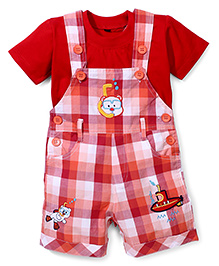 Jash Kids Check Dungaree Style Romper  With Short Sleeves T-Shirt Ship Embroidery - Red Orange White