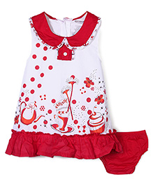 Wonderchild Printed Dress & Bloomer Set - Red