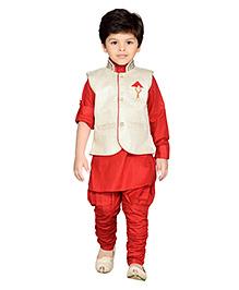 AJ Dezines Kurta Waistcoat And Breeches Set - Red And Cream