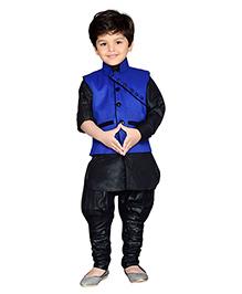 AJ Deznies Kurta Waistcoat And Breeches Set - Black And Royal Blue