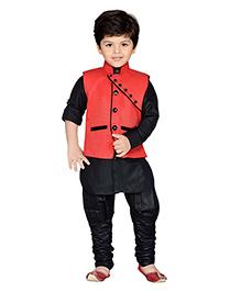 AJ Deznies Kurta Waistcoat And Breeches Set - Black And Red
