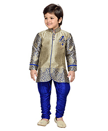 AJ Deznies Self Design Sherwani and Breeches Set - Royal Blue And Golden