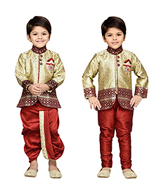 AJ Dezines Full Sleeves Kurta And Dhoti With Jodhpuri Breeches - Golden And Maroon