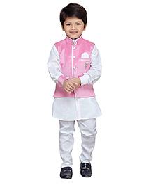 AJ Dezines Full Sleeves Kurta Pajama And Waistcoat - Pink And White
