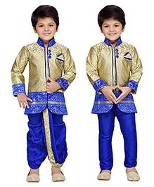 AJ Dezines Full Sleeves Kurta And Dhoti With Jodhpuri Breeches - Royal Blue