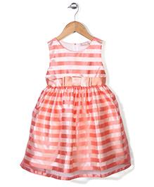 Little Coogie Striped Party Wear Dress - Orange