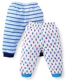 Babyhug Leggings Pack of 2 Multi Print - White Blue
