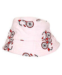 Ekchidiya Twill Bicycle Print Hat  - Light Pink & Red
