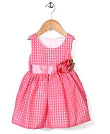 Little Coogie Checkered Party Dress With Flower - Dark Pink
