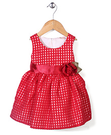 Little Coogie Checkered Party Dress With Flower - Red