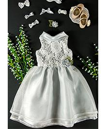 Little Coogie Floral Party Dress - Sky Blue