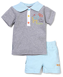 Wonderchild Animal Print T-Shirt & Shorts Set - Grey & Blue