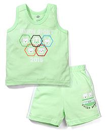 Zero Sleeveless T-Shirt And Shorts Union Sport Print - Green