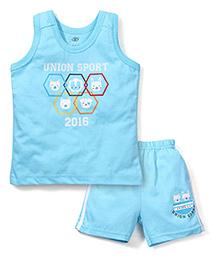 Zero Sleeveless T-Shirt And Shorts Union Sport Print - Sky Blue