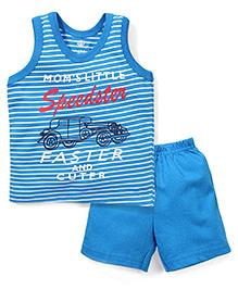 Zero Sleeveless T-Shirt And Shorts Speedster Print - Blue