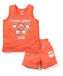 Zero Sleeveless T-Shirt And Shorts Union Sport Print - Orange
