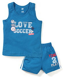 Zero Sleeveless T-Shirts And Shorts Set Soccer Print - Blue