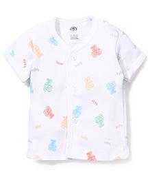 Zero Half Sleeves Vest Bear Print - White