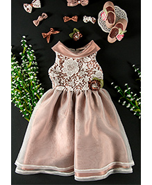 Little Coogie Floral Party Dress - Light Brown