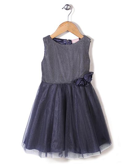 Little Coogie Fit N Flare Dress With Flower - Dark Grey