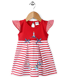 Babyhug Cap Sleeves Frock Lighthouse Embroidery - Red