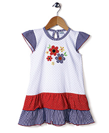 Babyhug Cap Sleeves Frock Floral Embroidery - Blue White