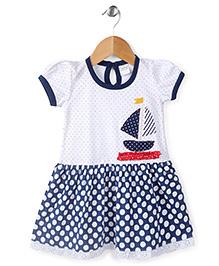 Babyhug Short Sleeves Frock Yacht Print - Blue White