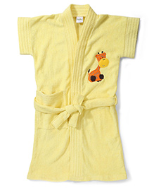 Babyhug Short Sleeves Bathrobe Giraffe Embroidery - Yellow
