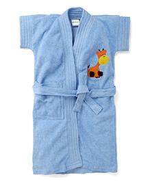 Babyhug Short Sleeves Solid Bathrobe Giraffe Embroidery - Blue