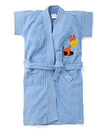 Babyhug Short Sleeves Solid Bathrobe Giraffe Embroidery - Blue