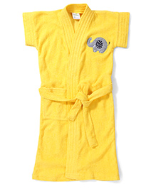 Babyhug Short Sleeves Bathrobe Elephant Embroidery - Yellow
