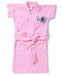 Babyhug Short Sleeves Bathrobe Elephant Embroidery - Pink