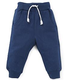 Babyhug Track Pants With Pockets and Drawstrings - Blue