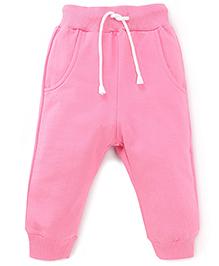 Babyhug Track Pants With Pockets and Drawstrings - Pink